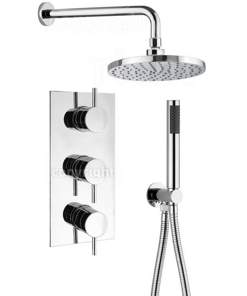 Crosswater Kai Concealed Thermostatic 3 Control Overhead And Hand Shower Set