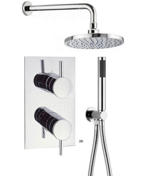 Crosswater Kai Thermostatic Valve With Wall Shower Head And Handset Kit