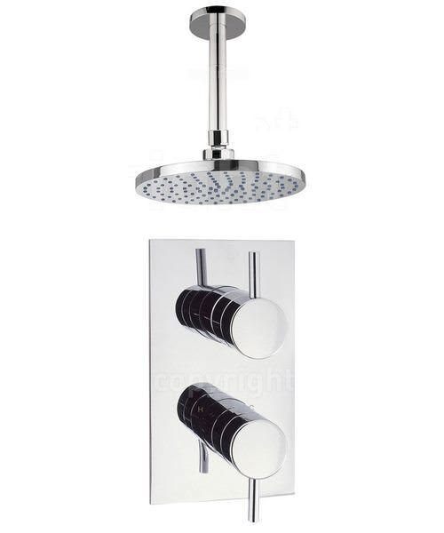 Crosswater Kai Lever Concealed Thermostatic Valve With Ceiling Shower Head
