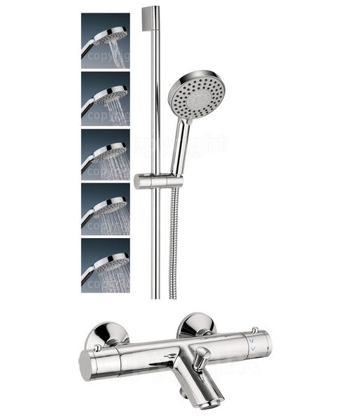Crosswater Kai Thermostatic Bath Shower Mixer Tap With 5 Mode Slide Rail Kit