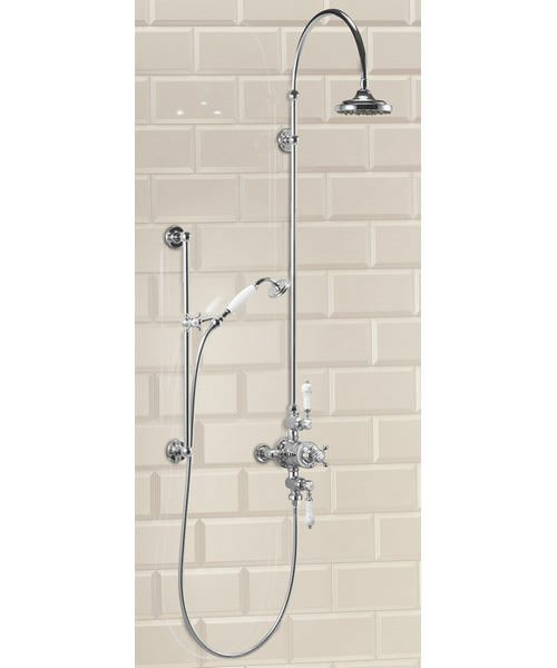 Avon Exposed Thermostatic Shower Valve With Riser And Curved Arm