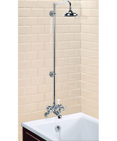 Wall Mounted Bath Shower Mixer With Rigid Riser-Straight Arm-6In Rose