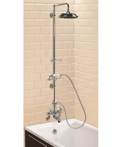 Wall Mounted Angled Bath Shower Mixer With Straight Arm - 9In Rose