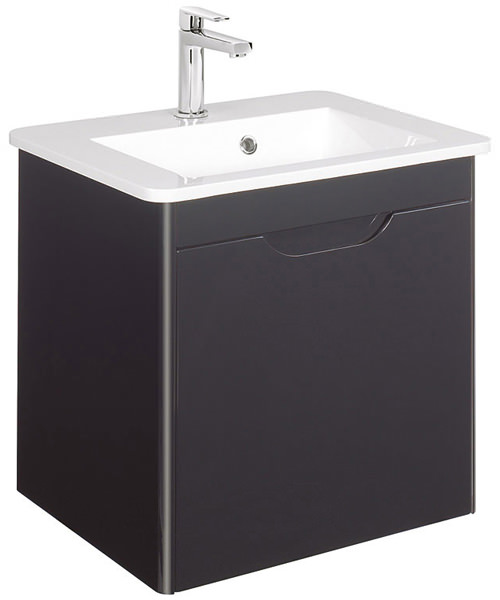 Bauhaus Solo Graphite 525mm Single Drawer Wall Hung Basin Unit
