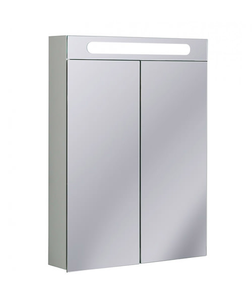 Bauhaus Aluminium 600 x 800mm Double Door Mirrored Cabinet