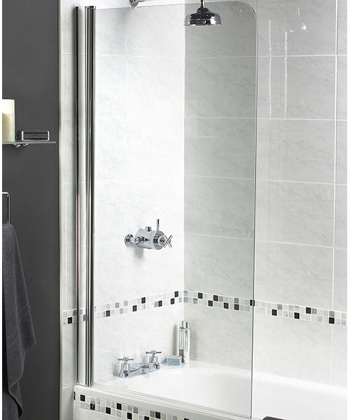 Aqualux Shine Radius Bath Screen 850 x 1500mm Polished Silver