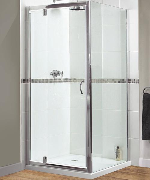 Aqualux Shine Pivot Shower Door Polished Silver
