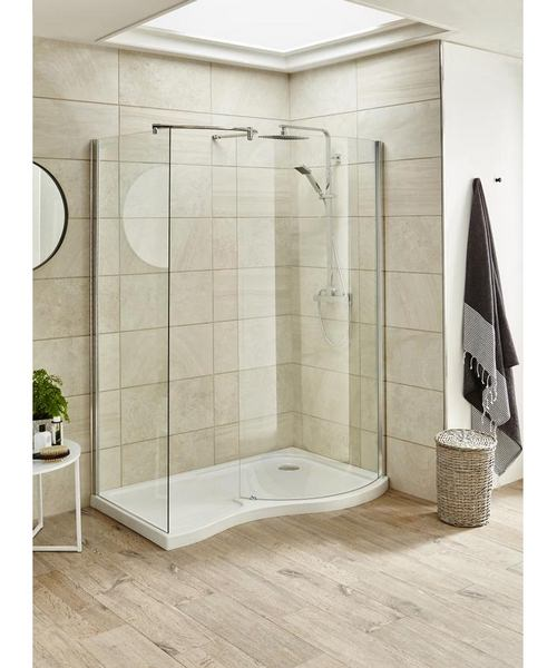 Beo 1400 x 906mm Curved Walk In Shower Tray Right Hand