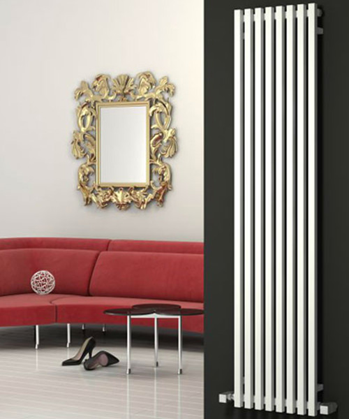 Reina Cascia Chrome 400 x 1800mm Designer Vertical Radiator