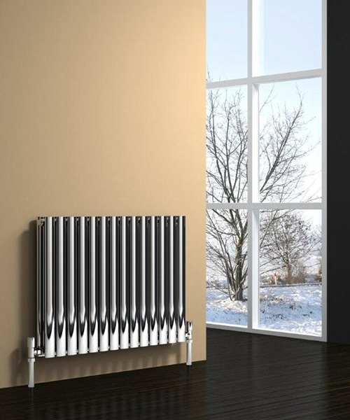Reina Nerox Double 590 x 600mm Brushed Stainless Steel Radiator