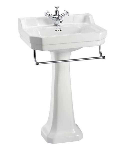 Burlington Edwardian 560mm Basin With Full Pedestal And Towel Rail