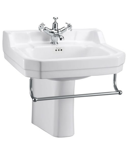Burlington Edwardian 560mm Basin With Semi Pedestal And Towel Rail