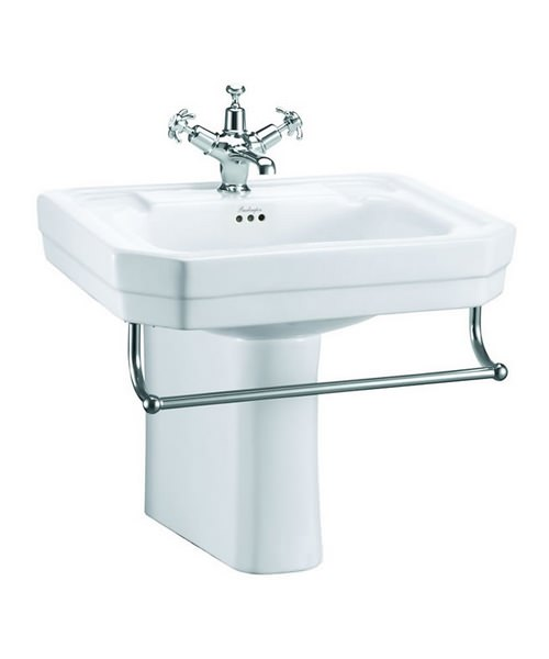 Burlington Victorian 560mm Basin With Semi Pedestal And Towel Rail