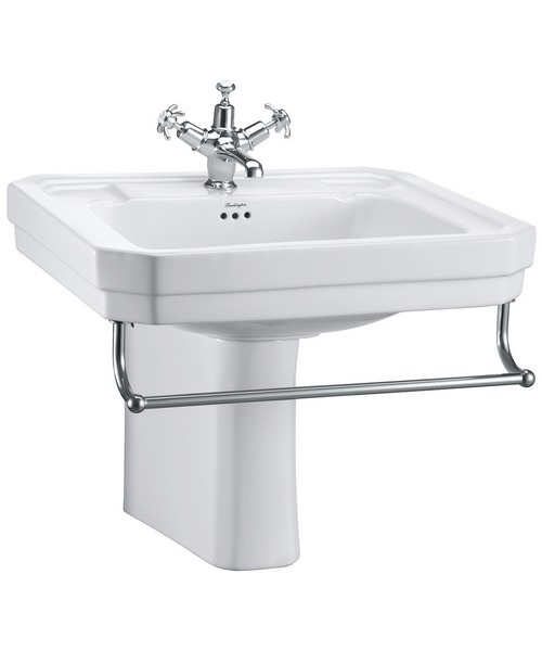 Burlington Victorian 610mm Basin And Semi Pedestal With Towel Rail