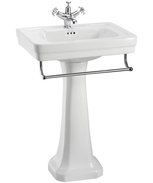 Burlington Contemporary 580mm Basin With Regal Pedestal And Towel Rail