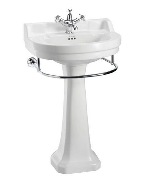 Burlington Edwardian Round 560mm Basin With Regal Pedestal And Towel Rail