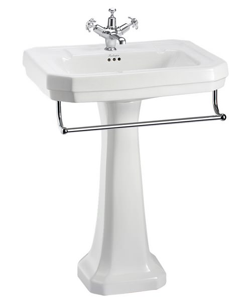 Burlington Victorian 610mm Basin With Regal Pedestal And Towel Rail