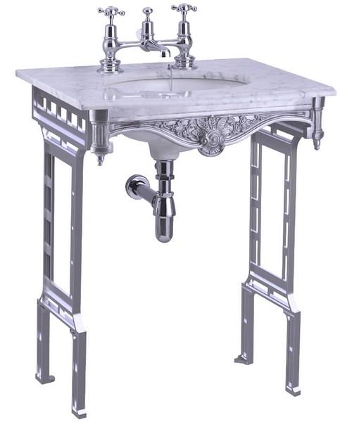 Burlington Georgian Marble Basin And Brushed Aluminium Wash Stand