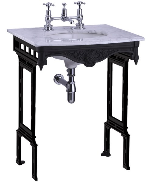 Burlington Georgian Marble Basin And Black Aluminium Wash Stand