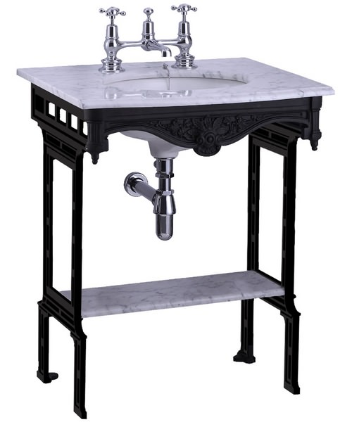Burlington Georgian Marble Basin With Black Aluminium Stand And Shelf