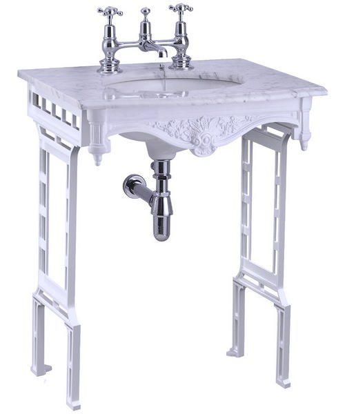 Burlington Georgian Marble Basin And White Aluminium Wash Stand