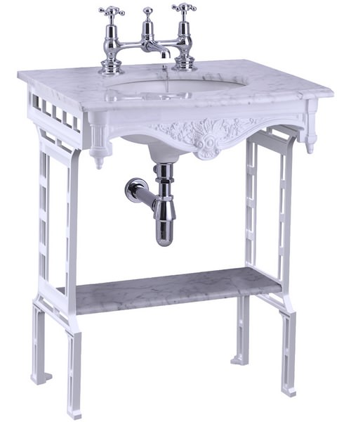Burlington Georgian Marble Basin With White Aluminium Stand And Shelf