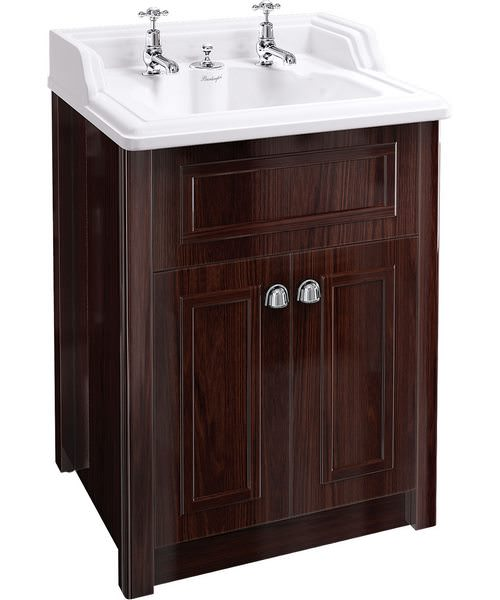 Classic Basin With Invisible Overflow And Mahogany Vanity Unit