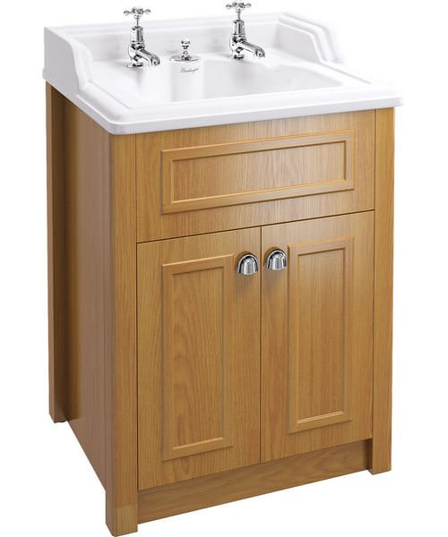 Classic Basin With Invisible Overflow And Oak Vanity Unit