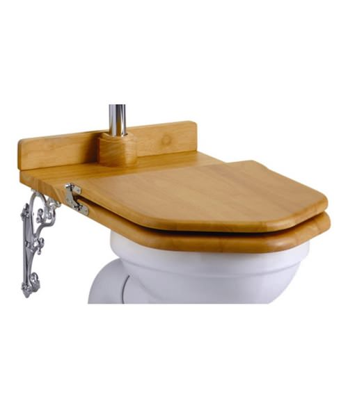 Burlington High Level Wooden Golden Oak WC Seat