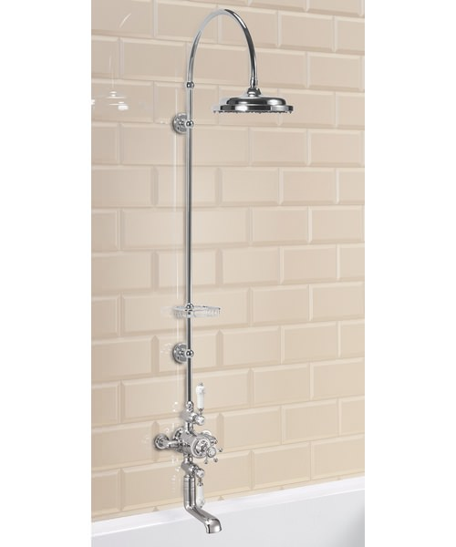 Avon Exposed Thermostatic Shower Valve With Spout And Curved Arm