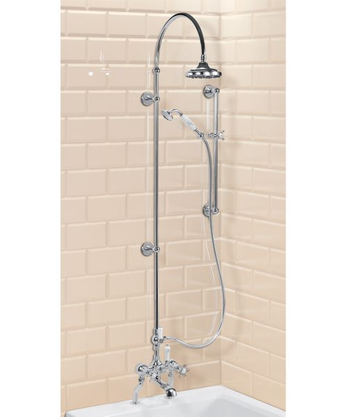 Deck Mounted Bath Shower Mixer With Riser And Curved Arm - 6In Rose