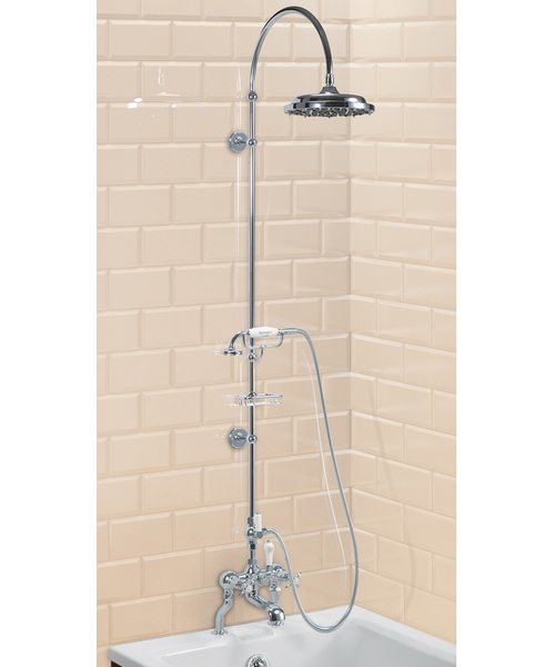Deck Mounted Bath Shower Mixer With Riser And Curved Arm - 9In Rose