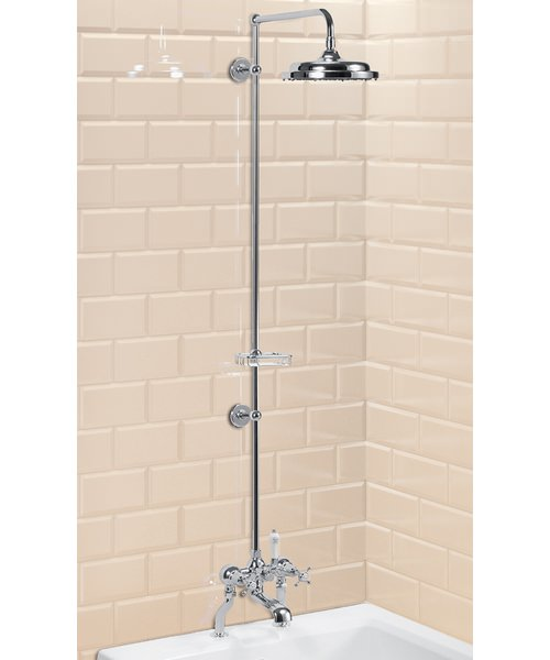 Deck Mounted Bath Shower Mixer With Riser And Straight Arm - 9In Rose