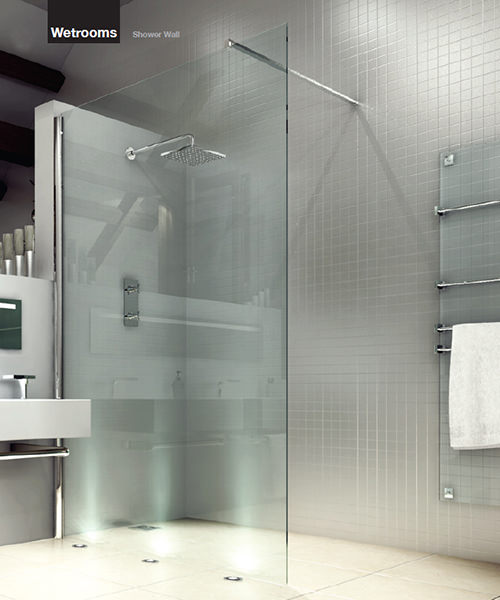 Merlyn 8 Series Wetrooms Clear Glass Shower Wall 1200mm