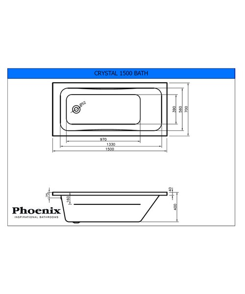 Additional image of Phoenix Crystal Single Ended Whirlpool Bath - System 1