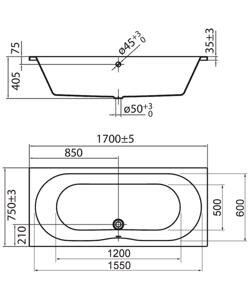 Technical drawing 30748 / PBDE17X75UD