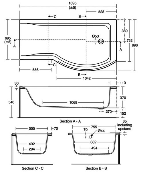 ideal standard concept idealform shower bath 1700x700mm ideal standard concept idealform shower bath 1700x700mm