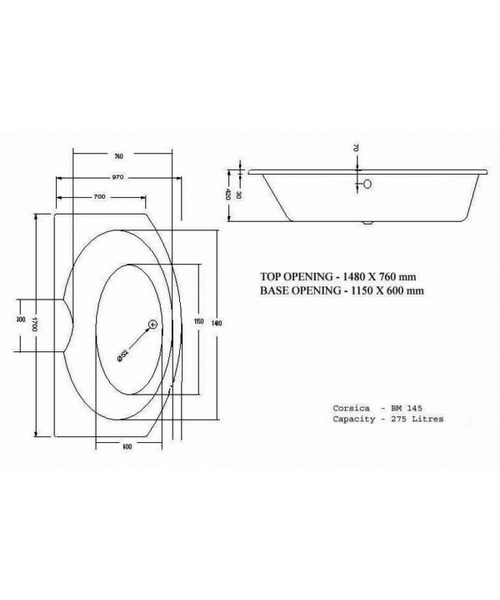 Technical drawing 15340 / CORBM145