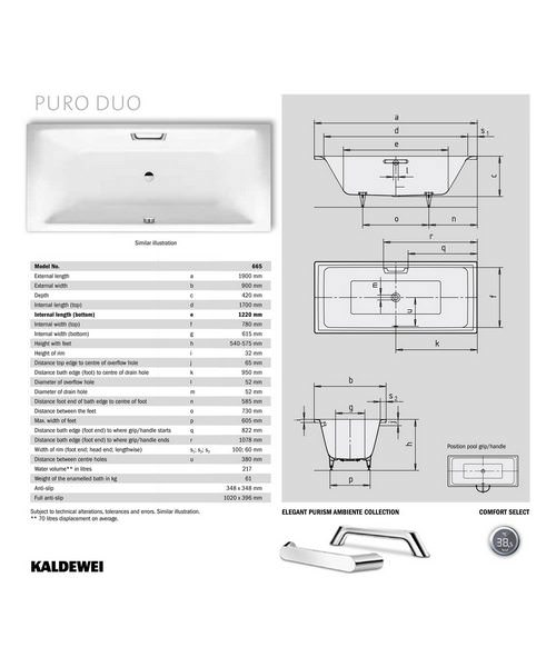 kaldewei ambiente puro duo 665 double ended steel bath 1900 x 900mm. Black Bedroom Furniture Sets. Home Design Ideas