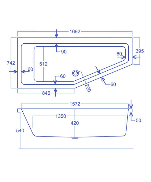 Carron Quantum Space Saver 5mm Acrylic Left Hand Bath 1700