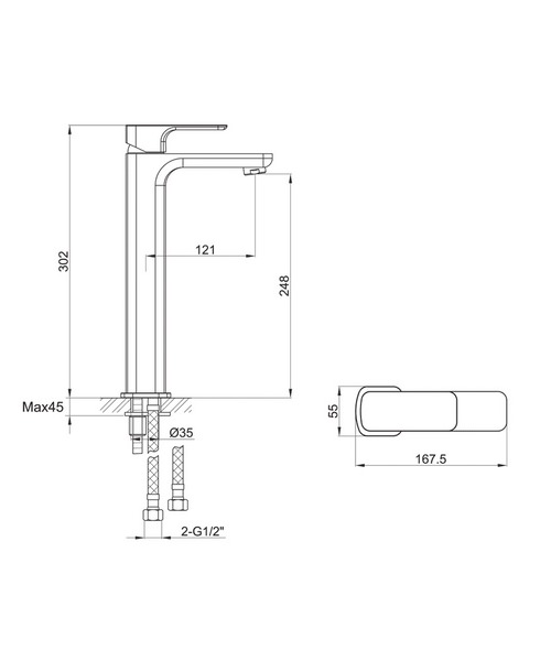 Alternate image of Pura Flite Single Lever Chrome Basin Mixer Tap With Clicker Waste