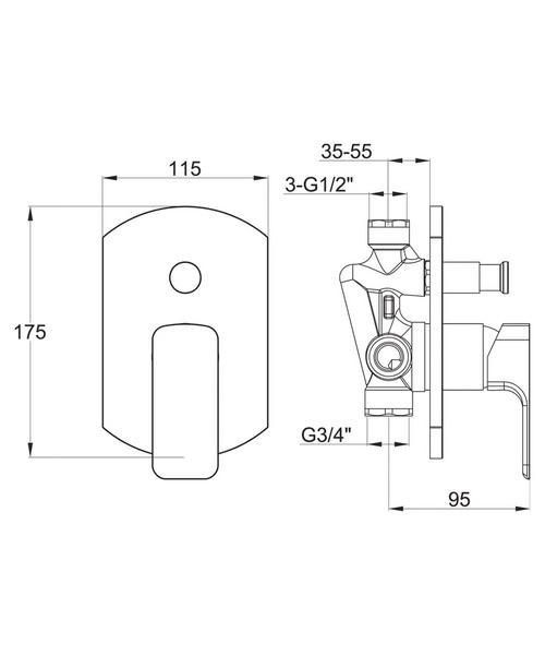 Additional image of Pura Flite Manual Concealed Shower Valve