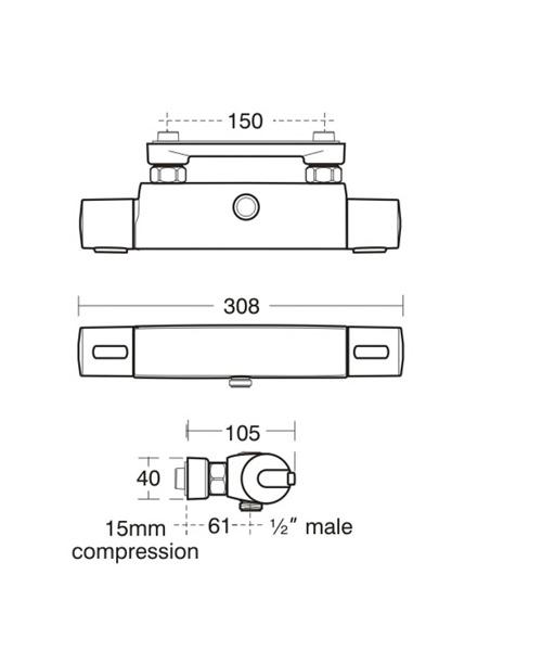ideal standard ceratherm 100 shower mixer valve with wall. Black Bedroom Furniture Sets. Home Design Ideas