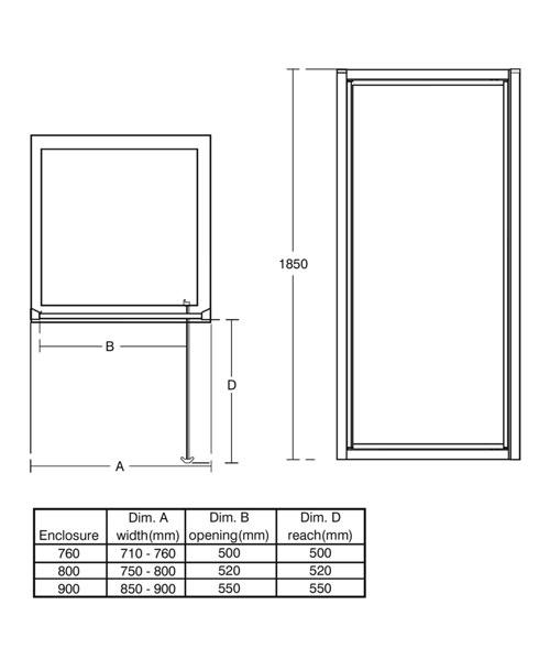 Ideal Standard New Connect 800mm Pivot Shower Door