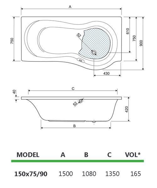 Technical drawing 33661 / 154IRIS15LH