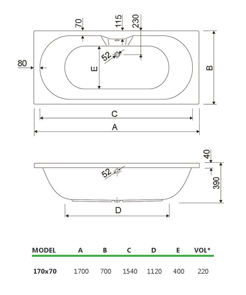 Technical drawing 33727 / 200CALISTO1770CWS06