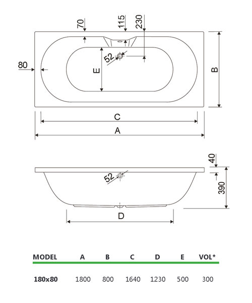 Technical drawing 33733 / 200CALISTO1880CWS06