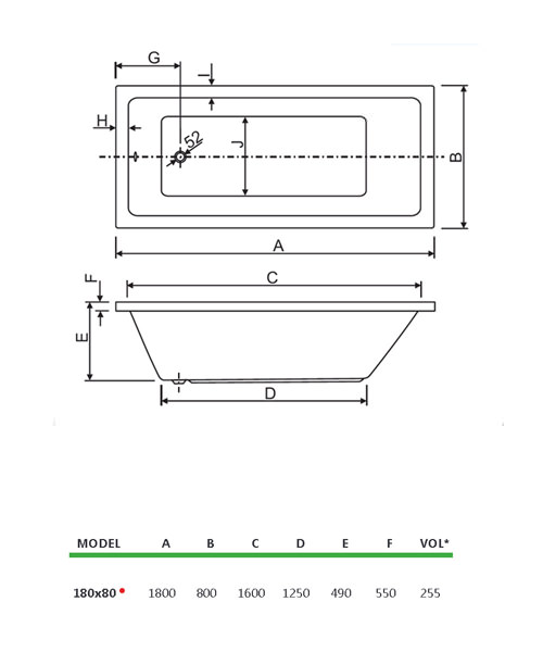 Technical drawing 33829 / 200PLANE1880CWS06