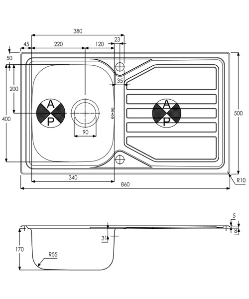 Technical drawing 34493 / AW5054
