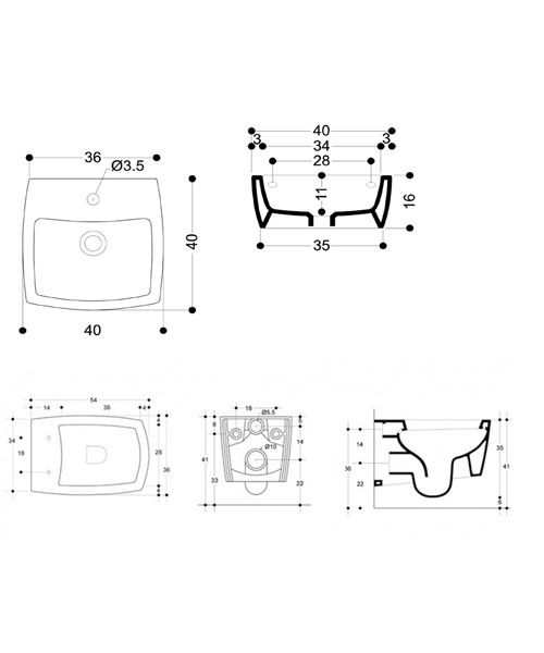 Technical drawing 4160 / ED0004SCW